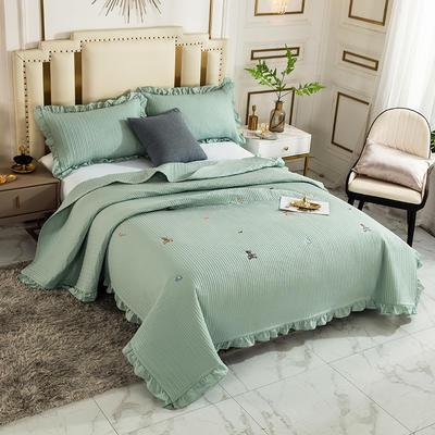 2020新款全棉水洗棉刺绣床盖 200cmx230cm单床盖 2清新熊