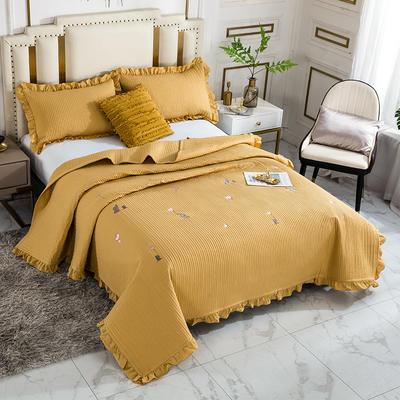 2020新款全棉水洗棉刺绣床盖 200cmx230cm单床盖 3黄色小象