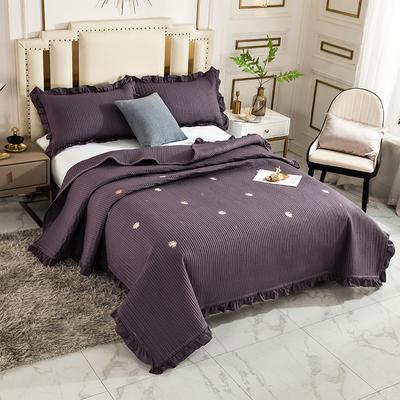 2020新款全棉水洗棉刺绣床盖 200cmx230cm单床盖 5深色雏菊
