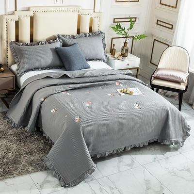 2020新款全棉水洗棉刺绣床盖 200cmx230cm单床盖 6灰色河马
