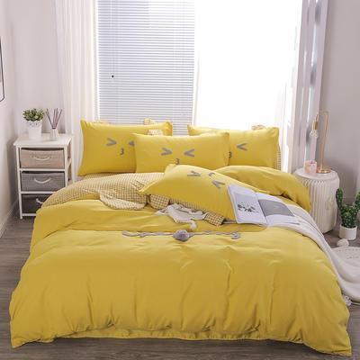 2020春夏新品长绒棉《么么熊》四件套 1.8m床单款四件套 黄色