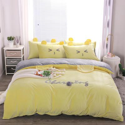 2019冬款《么么熊》宝宝绒保暖四件套 1.8m床单款四件套 柠檬黄