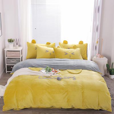 2019冬款《么么熊》宝宝绒保暖四件套 1.5m床单款四件套 流行黄
