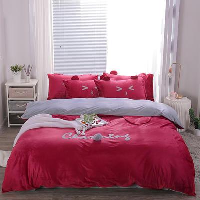 2019冬款《么么熊》宝宝绒保暖四件套 1.8m床单款四件套 酒红色