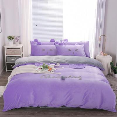 2019冬款《么么熊》宝宝绒保暖四件套 1.8m床单款四件套 梦幻紫