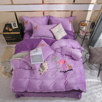 2019时尚水晶绒宝宝绒毛巾绣四件套 1.8m床单款四件套 森林之鹿-紫