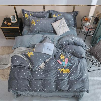 2019时尚水晶绒宝宝绒毛巾绣四件套 1.8m床单款四件套 小飞象-灰