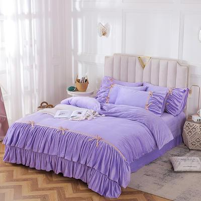 2019新款純真年代系列四件套 1.8m床單款 淺紫色