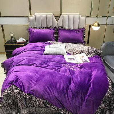 2019冬款《美女与野兽》宝宝绒保暖四件套 1.5m床单款四件套 紫色