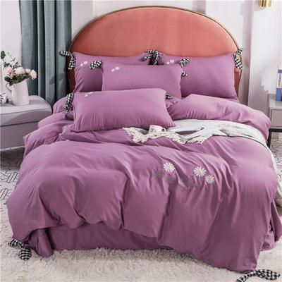2020新款水洗真絲四件套 1.5m 床單款四件套 香芋紫