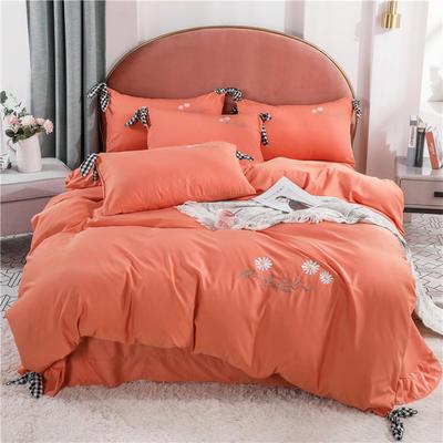 2020新款水洗真絲四件套 1.5m 床單款四件套 陽光橘
