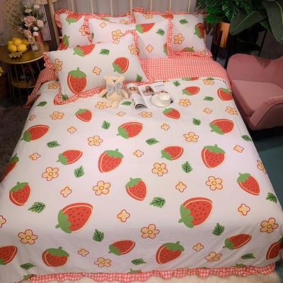 2020新款四季棉印花四件套 1.5m床單款四件套 大草莓