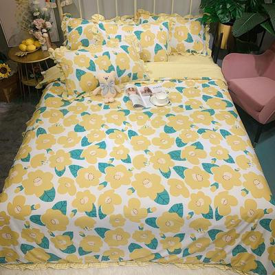 2020新款四季棉印花四件套 1.5m床單款四件套 花兒朵朵-黃