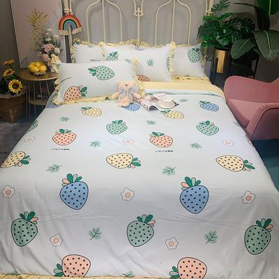 2020新款四季棉印花四件套 1.5m床單款四件套 奶油草莓