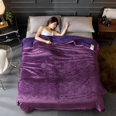 2019新款法兰绒毛毯系列 2*2.3m 海浪紫罗兰