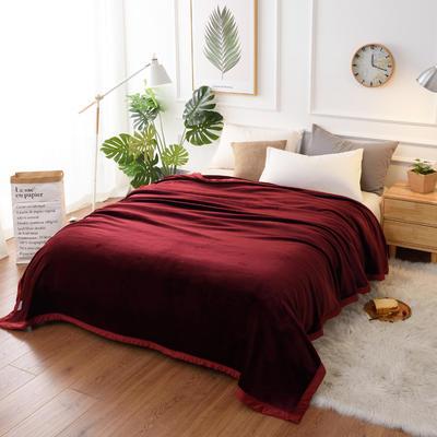 2019新款400克素色单层北极绒毛毯 150*200 酒红色