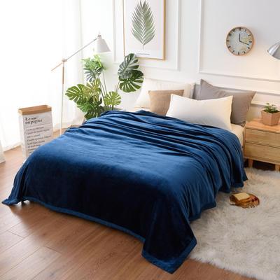 2019新款400克素色单层北极绒毛毯 150*200 午夜蓝