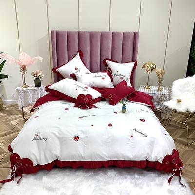 2020新款AB版60支埃及長絨棉小清新草莓繡花四件套 1.5m床單款四件套 草莓-紅