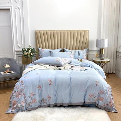 2020新款60S長絨棉四件套—維多利亞 1.5m床單款四件套 維多利亞-淺藍