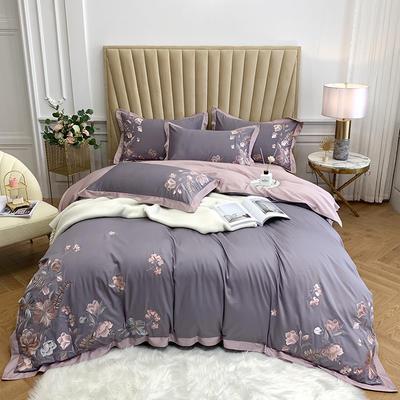 2020新款60S長絨棉四件套—維多利亞 1.5m床單款四件套 維多利亞-紫色