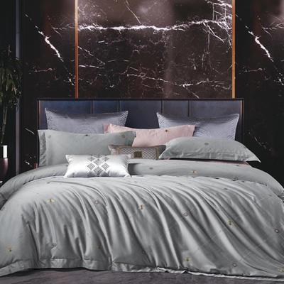 2020新款100支全棉色织提花四件套-轻奢生活 1.5m床单款四件套 轻奢生活-银灰