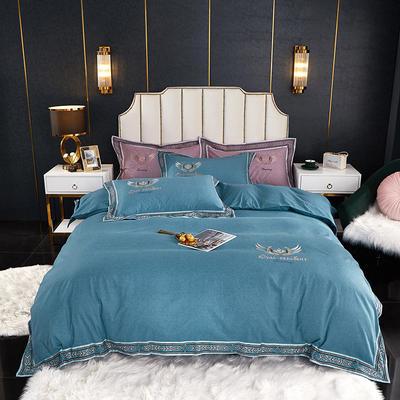 2020新款全棉磨毛数码印花四件套 1.8m床单款四件套 清澈蓝