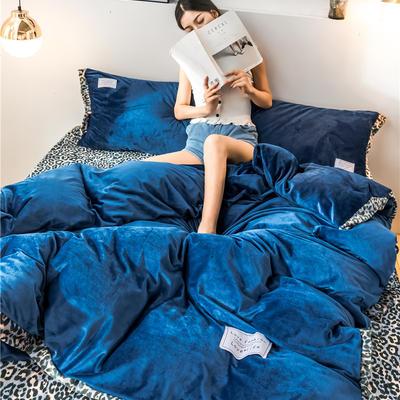 2020新款水晶绒拼色宽边四件套 1.8m床单款四件套 宝石蓝