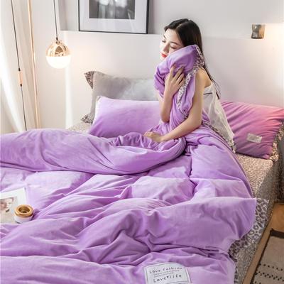 2020新款水晶绒拼色宽边四件套 1.8m床单款四件套 淡雅紫