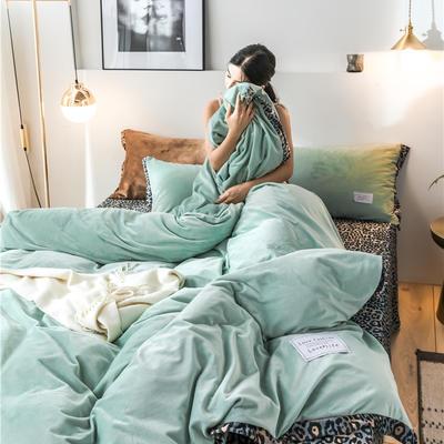 2020新款水晶绒拼色宽边四件套 1.5m床单款四件套 浅草绿