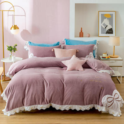 2020新款阳离子提花绒贴布绣系列四件套 1.8m床单款四件套 可爱多-爱心紫