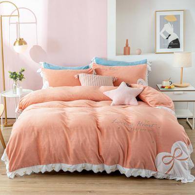 2020新款阳离子提花绒贴布绣系列四件套 1.8m床单款四件套 可爱多-橙子桔