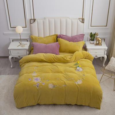 2020新款牛奶绒(中国风)刺绣系列四件套 1.8m床单款四件套 花开并蒂-姜黄