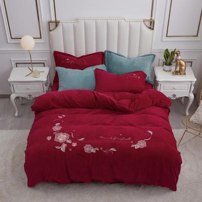 2020新款牛奶绒(中国风)刺绣系列四件套 1.8m床单款四件套 花开并蒂-酒红