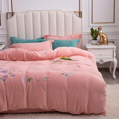 2020新款牛奶绒(中国风)刺绣系列四件套 1.8m床单款四件套 花开并蒂-玉色