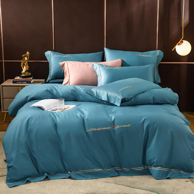2020新款全棉刺绣挚爱系列四件套 1.8m床单款四件套 挚爱-宾利蓝