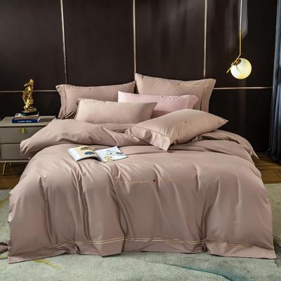 2020新款全棉刺绣挚爱系列四件套 1.8m床单款四件套 挚爱-亚麻棕