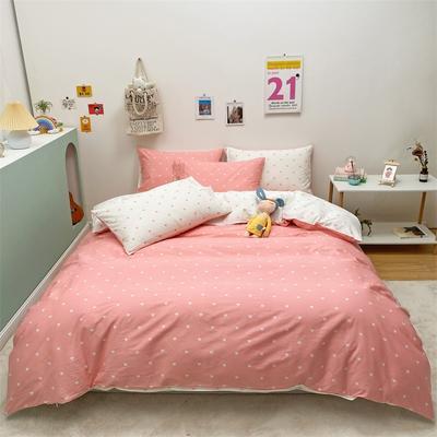 2021新款-13372全棉小爱心简单款四件套 1.5m床单款四件套 爱心普通款粉色