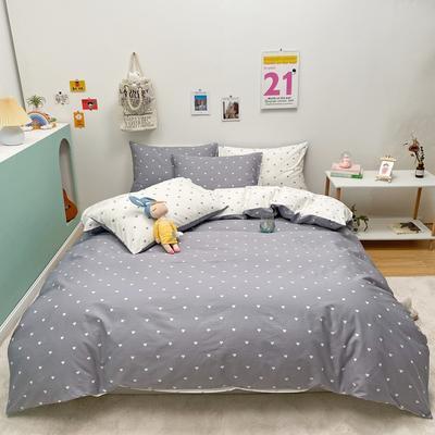 2021新款-13372全棉小爱心简单款四件套 1.5m床单款四件套 爱心普通款灰色