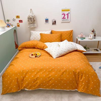 2021新款-13372全棉小爱心简单款四件套 1.5m床单款四件套 爱心普通款橘色