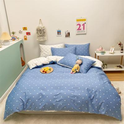 2021新款-13372全棉小爱心简单款四件套 1.5m床单款四件套 爱心普通款蓝色