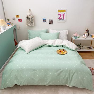 2021新款-13372全棉小爱心简单款四件套 1.5m床单款四件套 爱心普通款绿色