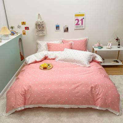 2021新款-全棉13372小清新爱心花边款四件套 1.5m床单款四件套 爱心花边款粉色