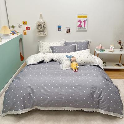 2021新款-全棉13372小清新爱心花边款四件套 1.5m床单款四件套 爱心花边款灰色
