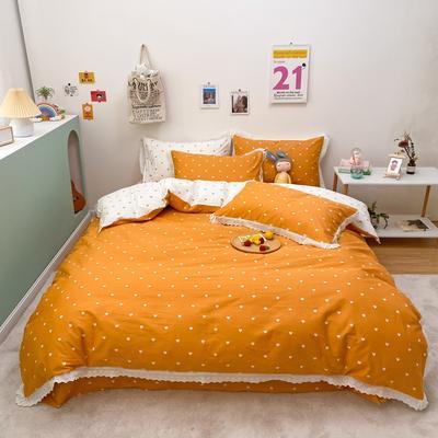 2021新款-全棉13372小清新爱心花边款四件套 1.5m床单款四件套 爱心花边款橘色