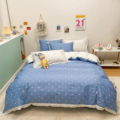 2021新款-全棉13372小清新爱心花边款四件套 1.5m床单款四件套 爱心花边款蓝色