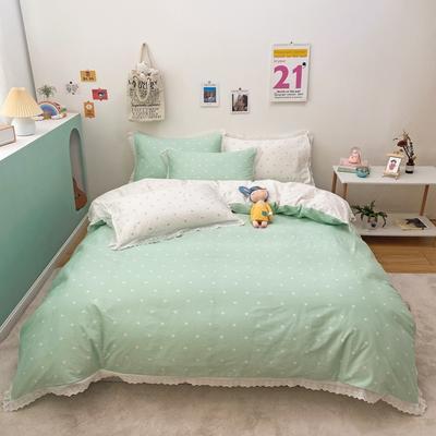 2021新款-全棉13372小清新爱心花边款四件套 1.5m床单款四件套 爱心花边款绿色