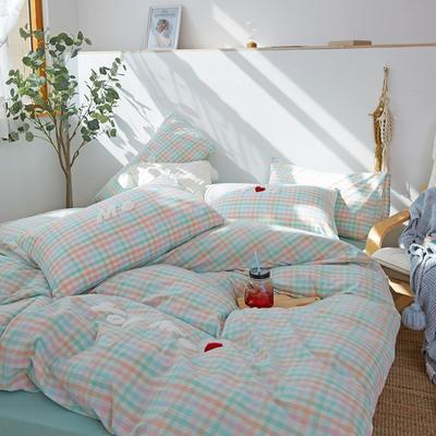 2021全棉色织水洗棉四件套  小号只有小蓝格,小黄格有货 1.5m床单款(5英尺)床 唯一(小蓝格)