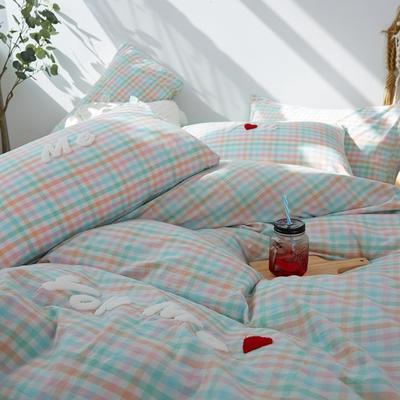 2021全棉色织水洗棉四件套  小号只有小蓝格,小黄格有货 1.8m床单款(6英尺)床 唯一(小彩格)