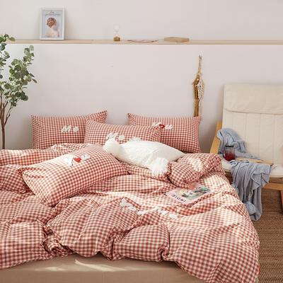 2021全棉色织水洗棉四件套  小号只有小蓝格,小黄格有货 1.8m床单款(6英尺)床 唯一(小红格)