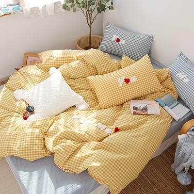 2021全棉色织水洗棉四件套  小号只有小蓝格,小黄格有货 1.5m床单款(5英尺)床 唯一(小黄格)
